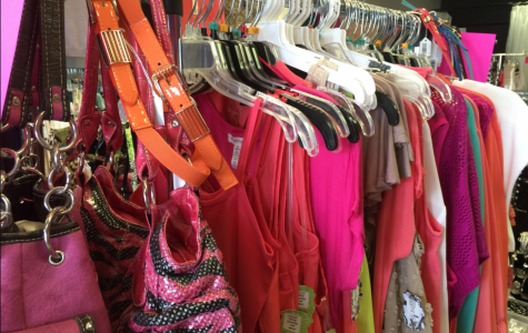 Different articles of clothing hanging on a clothing rack.
