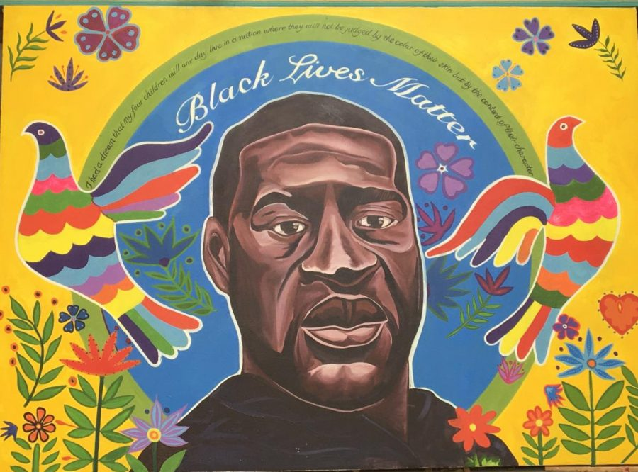 A mural of George Floyd painted in Los Angeles, highlighting the community's solidarity for the ongoing Black Lives Matter Movement.