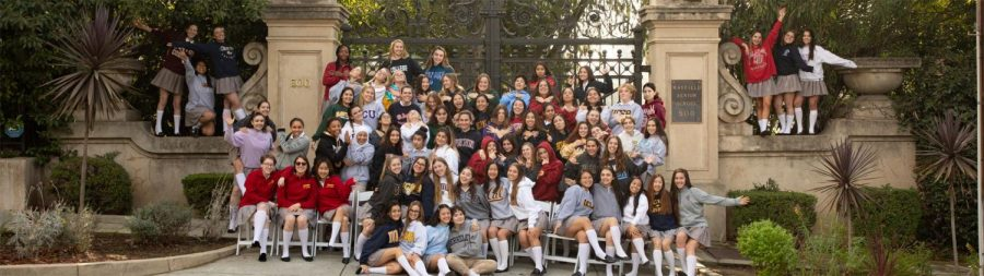 Mayfield Senior's class of 2020 poses in a photo wearing college sweatshirts earlier this year.
