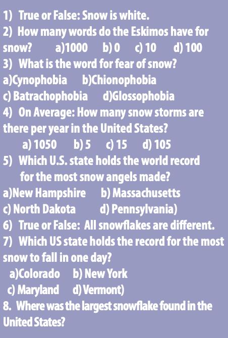 Test Your Snowledge (snow knowledge)