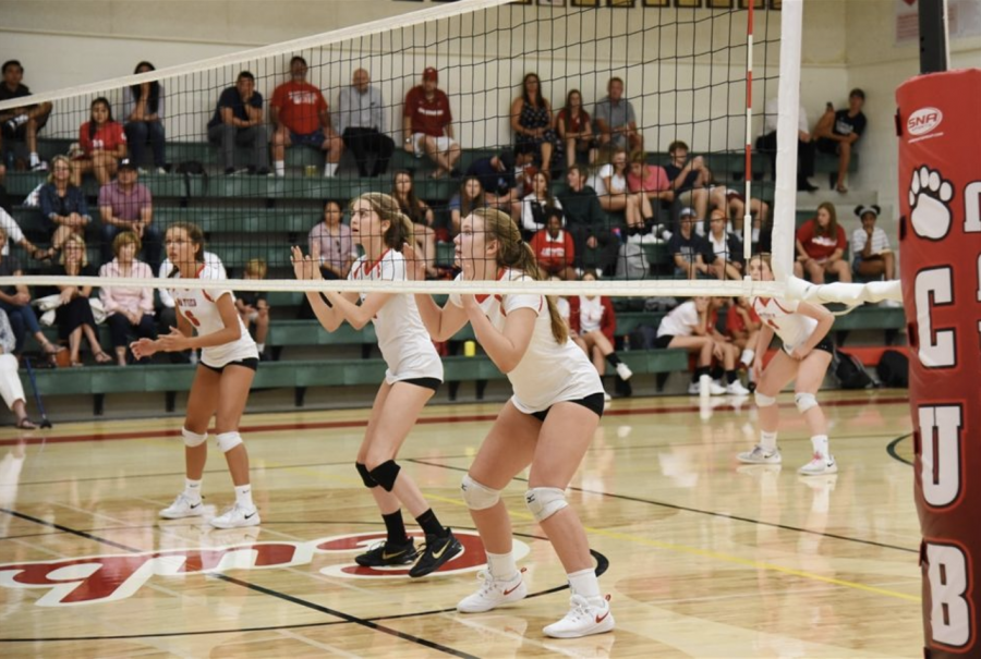 Mayfield Senior students in action during their volleyball home game.