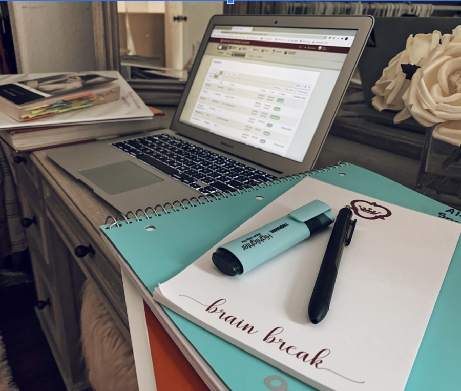 Alyssa Gallardo's desk set-up for virtual learning in the 2020-2021 school year.