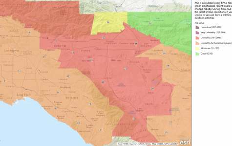 Safer inside: South Coast Air Quality Management air quality index map shows unhealthy air from Santa Monica to San Bernardino.