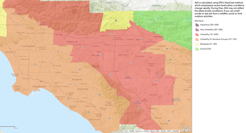 Safer inside: South Coast Air Quality Management air quality index map shows unhealthy air from Santa Monica to San Bernardino.