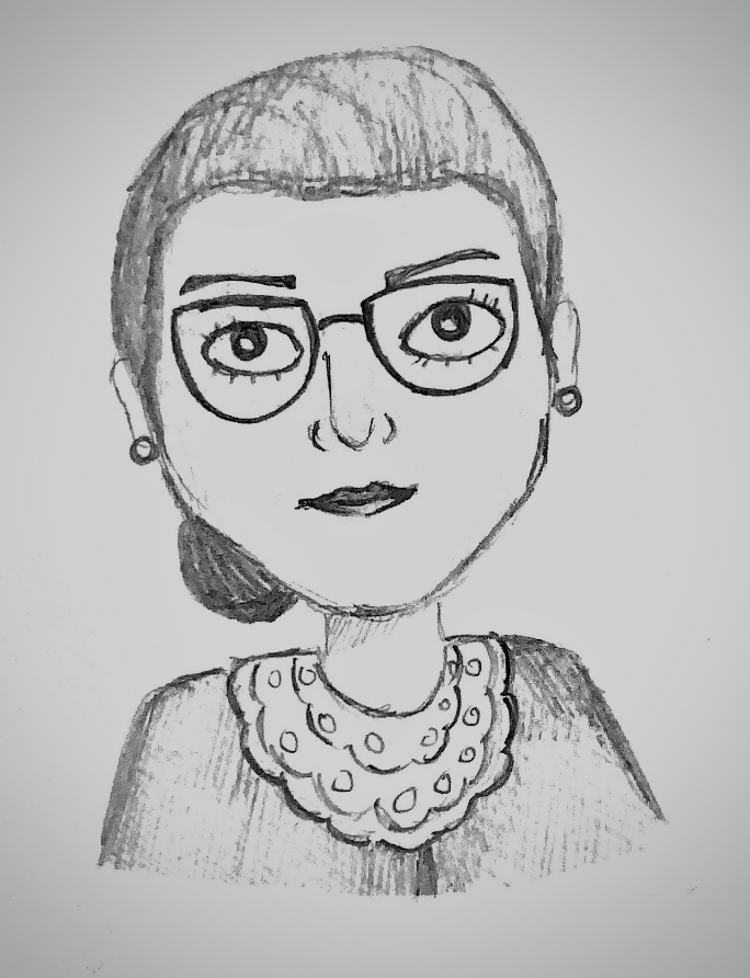 Drawing of the late Supreme Court Justice Justice Ruth Bader Ginsburg.