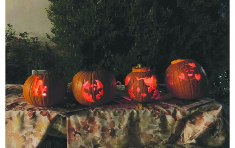 Pumpkins carved by Mayfield students in preparation for Halloween.