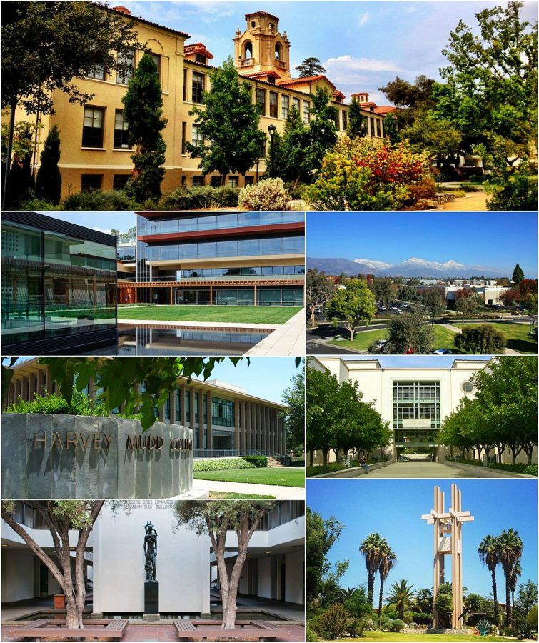 Clockwise from top: Pomona College, Claremont Graduate College, Keck Graduate Institute, Pitzer College, Scripps College, Harvey Mudd College, Claremont McKenna College.