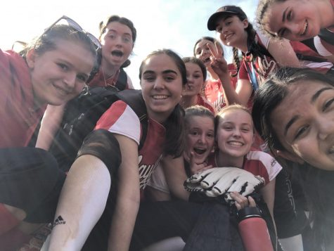Selfie with the 2019-2020 season softball team.