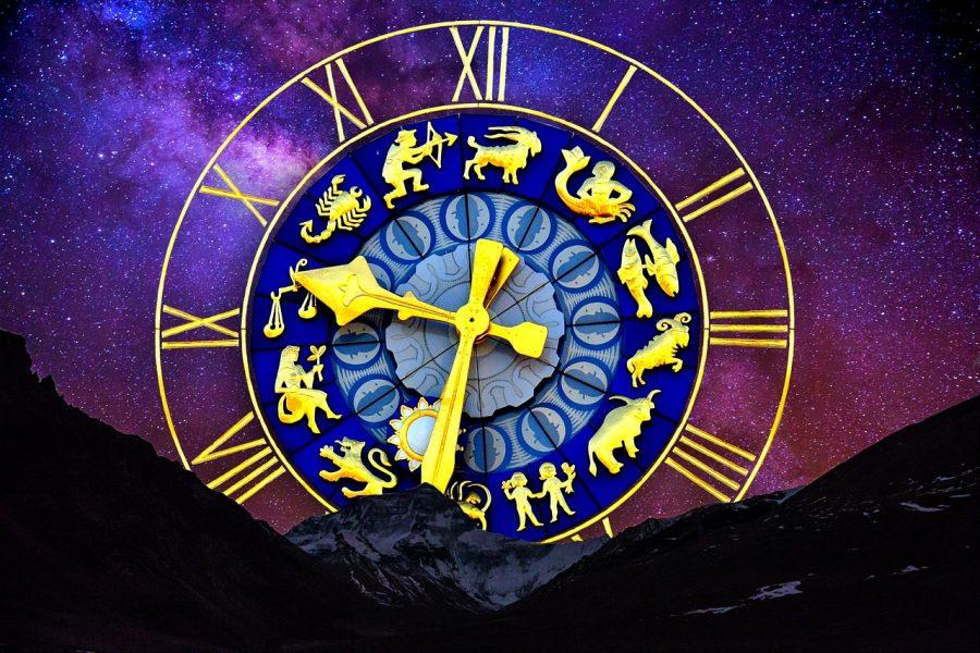 An astrology clock displaying all 12 zodiac signs: Aries, Aquarius, Sagittarius, Capricorn, Taurus, Virgo, Pisces, Libra, Scorpio, Gemini, Leo, and Cancer.