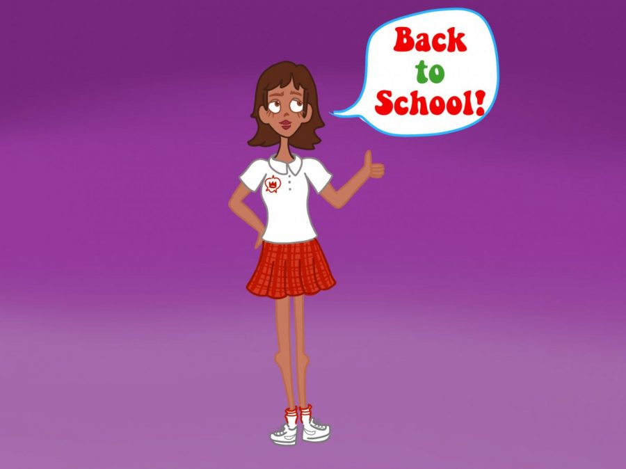 Digitally drawn graphic of  a Mayfield student ready to return back to school!