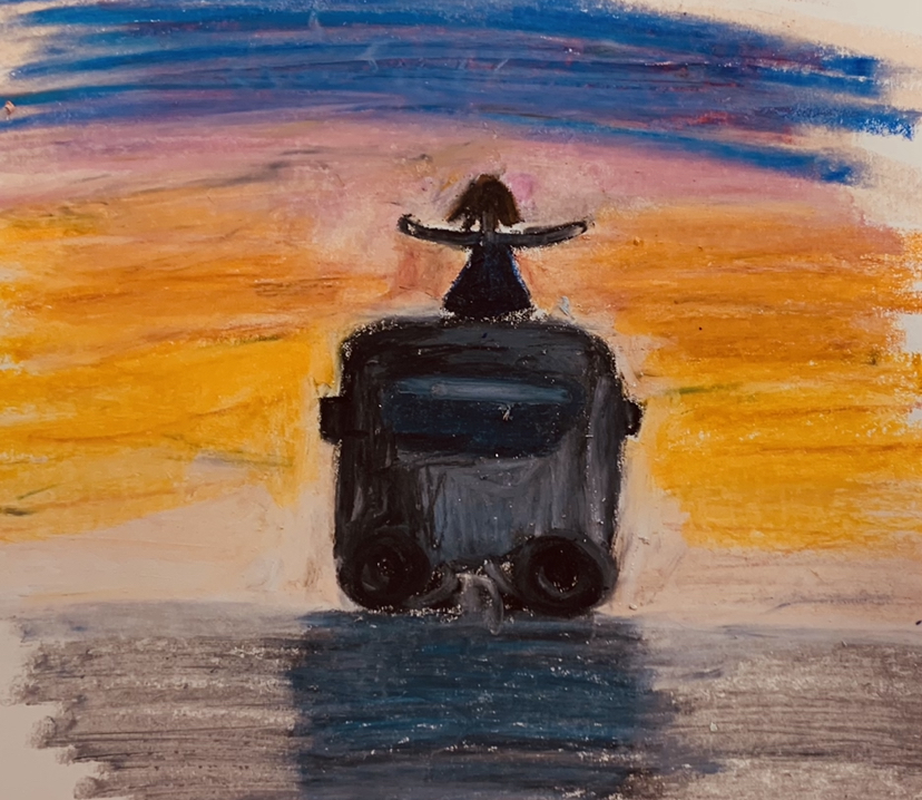 As the sun sets on spring, let's get ready for summer! Hand drawn pastel drawing by Madison Rojas '23.