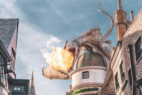 Dragon on top of Gringotts Bank in Diagon Alley at the Wizarding World of Harry Potter expansion, at Universal Studios, Orlando, Florida, USA. Photo by Craig Adderley from Pexels, Free to Use.