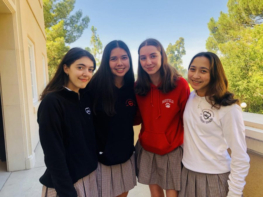 From left to right: Mia Maalouf 22, Le Anh Metzger 22, Chloe Marick 22, Hannah Sherman 22. Photo courtesy of Mayfield Senior School.